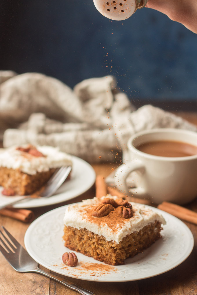 Two Plates of Spice Cake, Coffee Cup and Napkin on a Wooden Table
