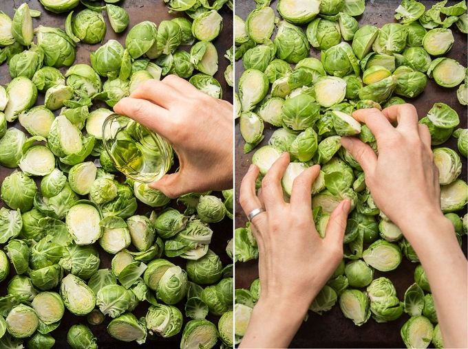 Side By Side Images Showing Brussels Sprouts on a Baking Sheet (1) Bend Drizzled with Olive Oil, and (2) Being Flipped By Hand