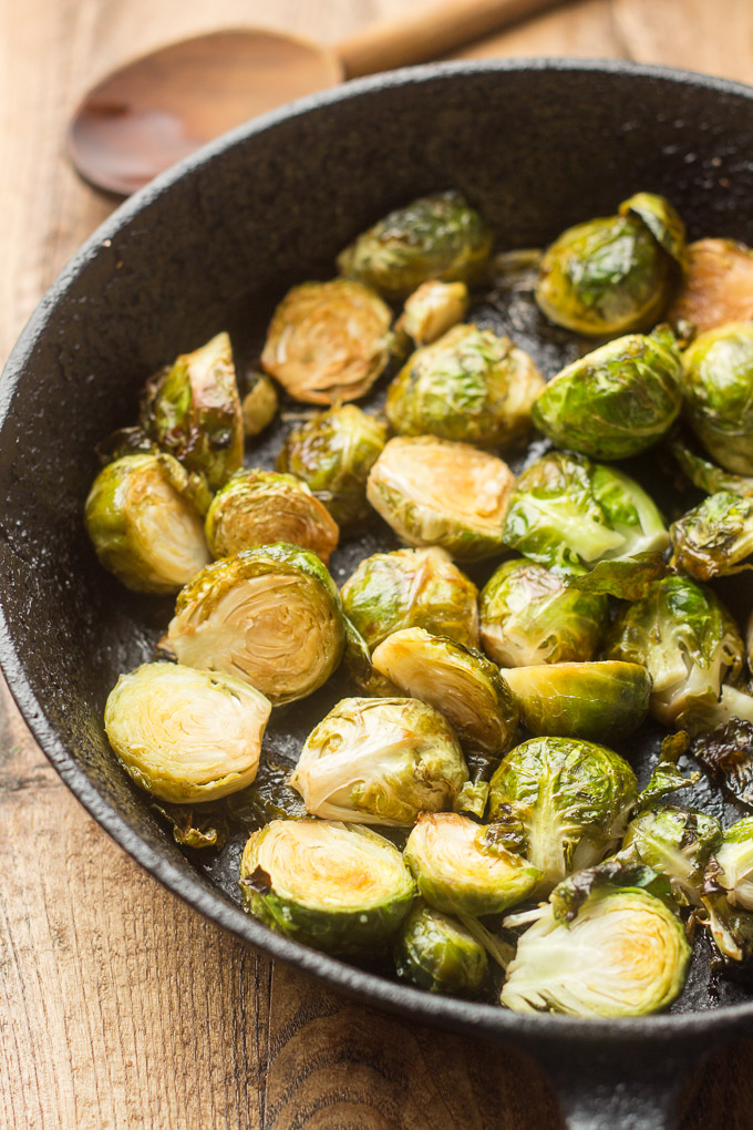 Skillet Filled with Balsamic Roasted Brussels Sprouts