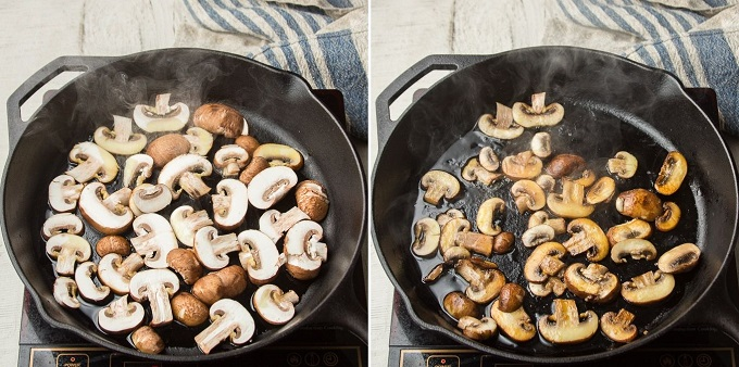 Side By Side Images Showing Mushrooms at Different Stages of Cooking