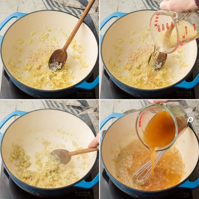 Collage Showing Steps 1-4 for Making Vegan Cream of Mushroom Soup: Sweat Onions, Add Wine, Add Flour and Add Broth