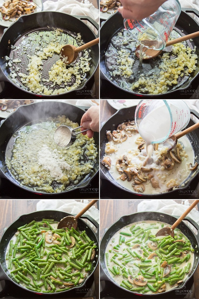 Collage Showing Steps for Making Vegan Green Bean Casserole: Sauté Onion, Add Wine, Add Flour, Add Non-Dairy Milk, Add Green Beans, and Simmer