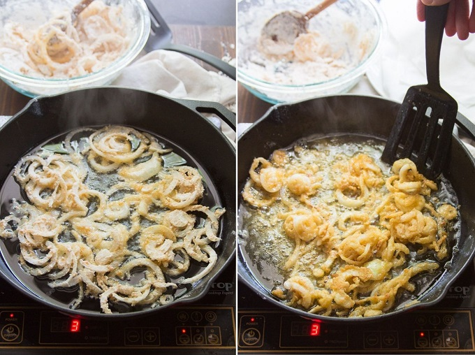 Collage Showing Two Stages of Frying French Fried Onions