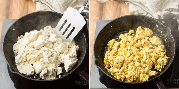 Collage Showing Steps for Making Tofu Scramble: Scramble Tofu in a Skillet and Add Seasonings