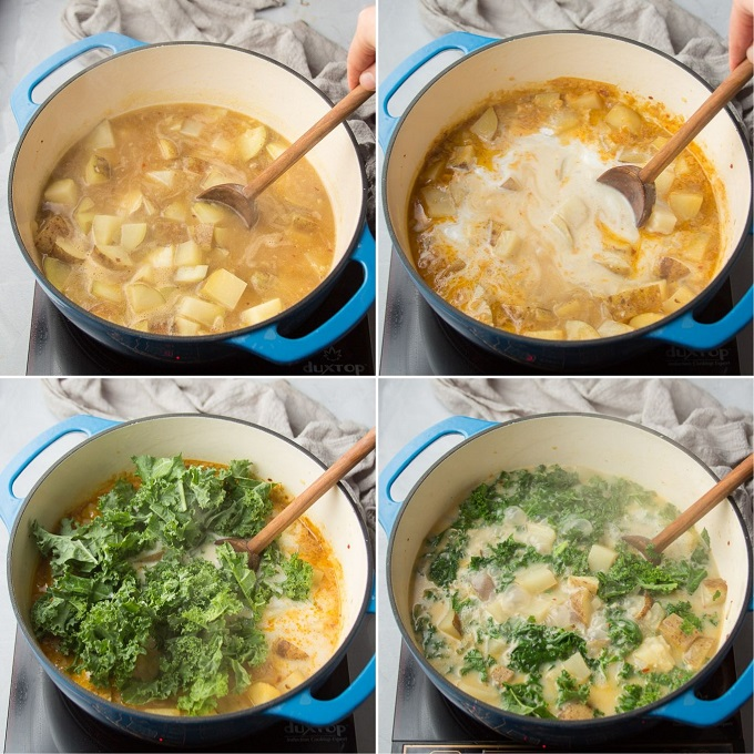 Collage Showing Steps 5-8 for Making Vegan Zuppa Toscana: Add Potatoes, Add Coconut Milk, Add Kale and Simmer