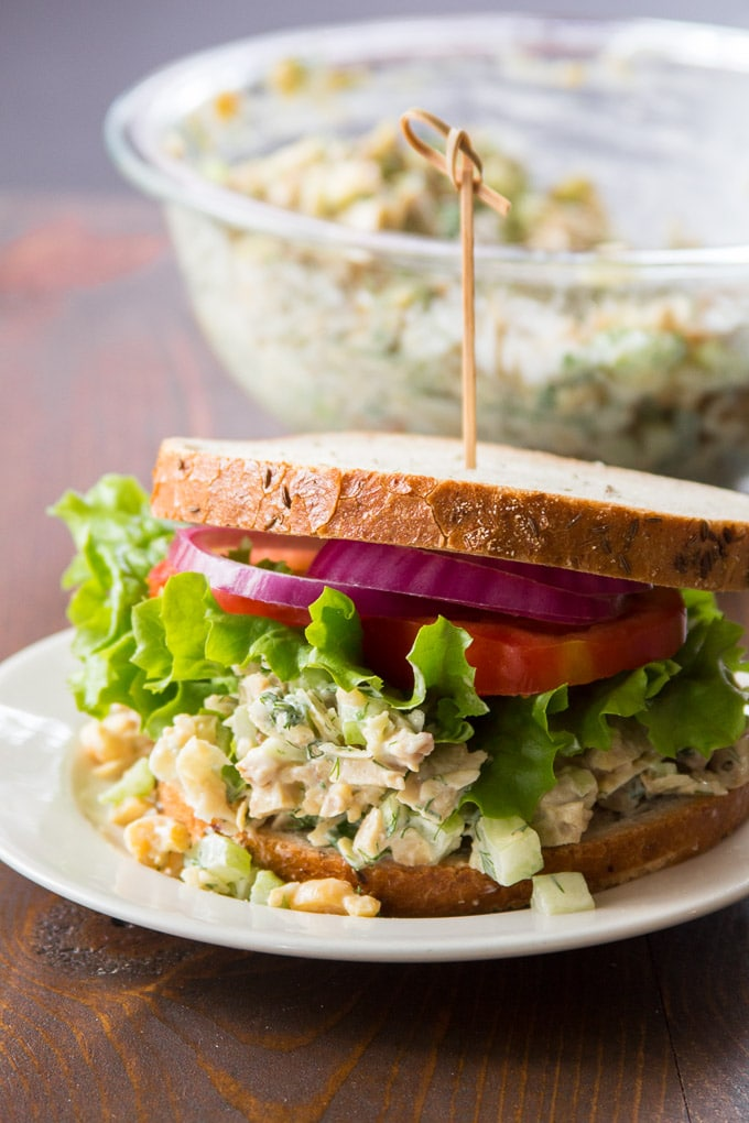 Vegan Chicken Salad on a Plate