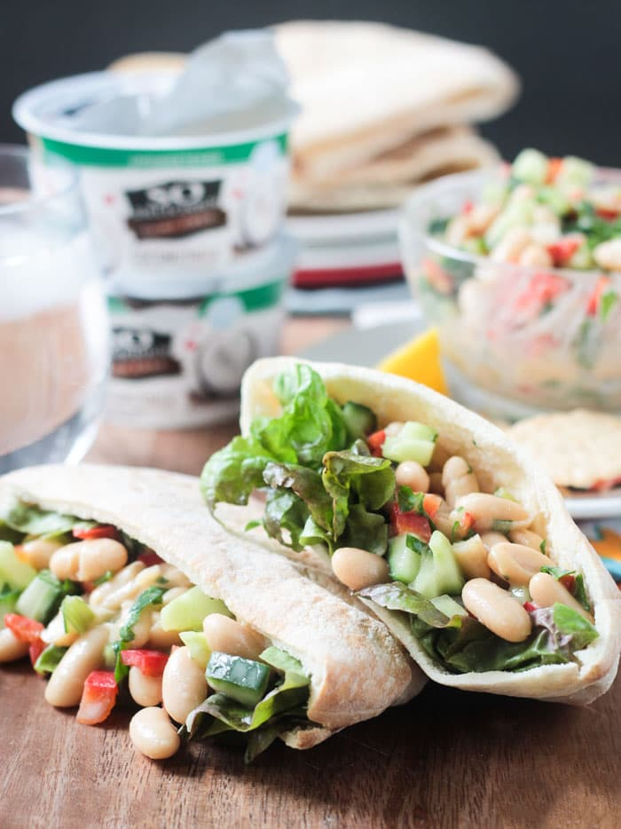 White Bean Salad in Pita Halves