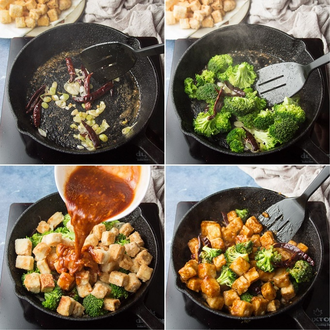 Collage Showing How to Cook General Tso's Tofu: Stir-Fry Dried Chiles and Scallions, Add Broccoli, Add Tofu and Sauce, and Simmer Until Sauce Thickens