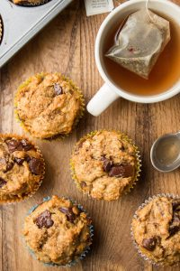 Rows of Vegan Banana Muffins with Teacup and Spoon