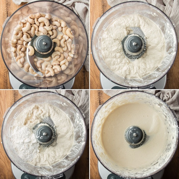 Collage Showing Four Stages of Blending Vegan Mozzarella Cheese in a Food Processor