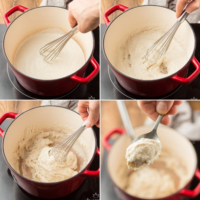 Collage Showing Four Stages of Cooking Vegan Mozzarella Cheese
