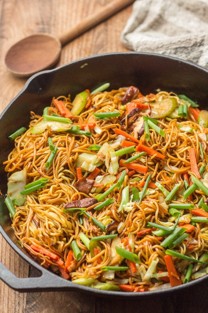 Vegetable Chow Mein in a Cast Iron Skillet
