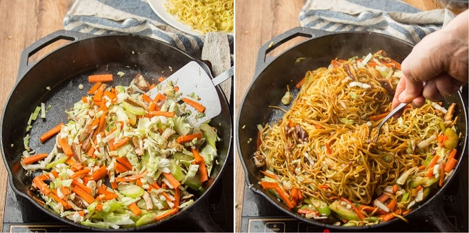 Collage Showing Steps 5 and 6 for Making Vegan Vegetable Chow Mein: Add Cabbage, and Add Noodles and Sauce