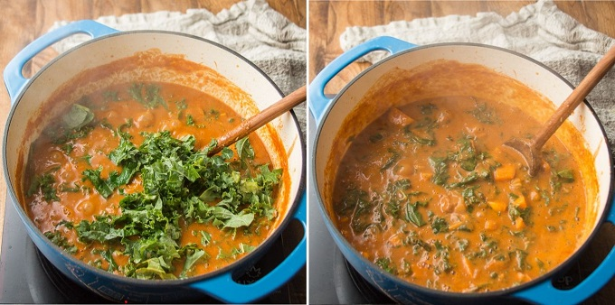 Collage Showing Steps 5 and 6 for Making African Peanut Soup