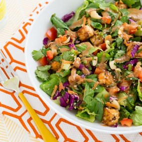 Chopped Power Salad with Baked Tofu and Almond-Miso Dressing Recipe
