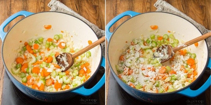 Collage Showing Steps 1 and 2 For Making Vegan Potato Soup: Sweat Veggies and Add Flour