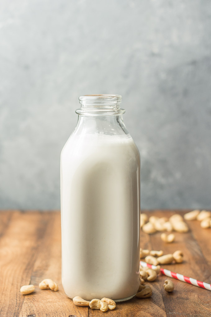 Bottle of Cashew Milk Sitting on a Table