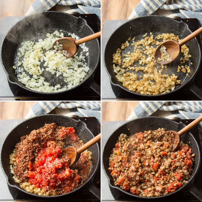 Collage Showing Steps for Cooking Lentil Quinoa Taco Meat: Sweat Onion, Add Spices, Add Tomato and Quinoa, and Add Lentils