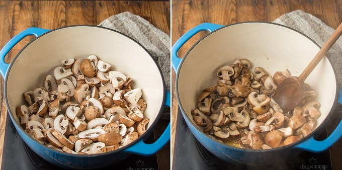 Side By Side Images Showing Two Stages of Cooking Mushrooms for Portobello Vegan Beef Stew