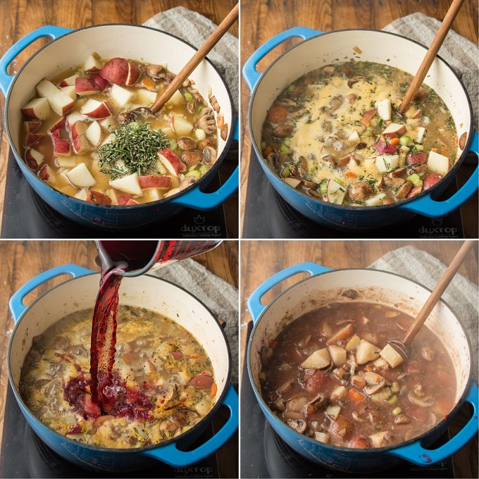 Collage Showing Four Steps of Cooking Vegan Beef Stew: Add Broth, Potatoes and Herbs, Simmer, Add Wine, Tomato Paste and Marmite, and Simmer Again
