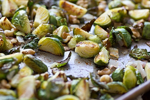Roasted Brussels Sprouts with Shallots & Walnuts