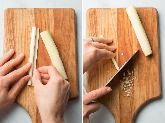 Side By Side Images Showing Hands Prepping Lemongrass on a Cutting Board