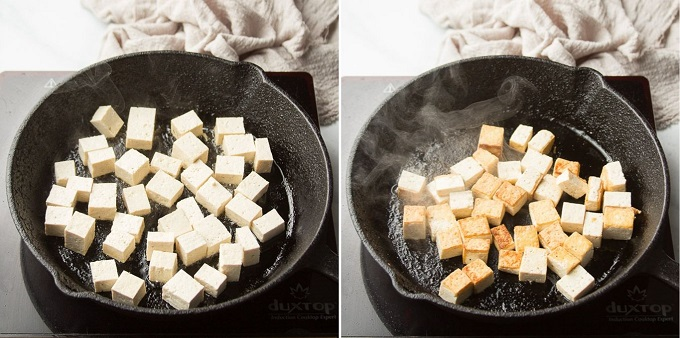 Side-By-Side Images Showing Stages of Tofu Cooking in a Skillet