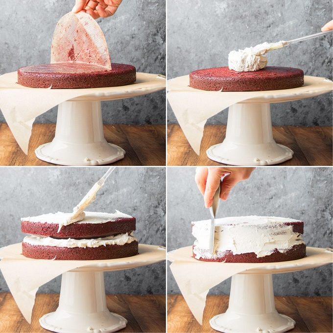 Collage Showing Four Stages of Frosting and Filling a Vegan Red Velvet Cake