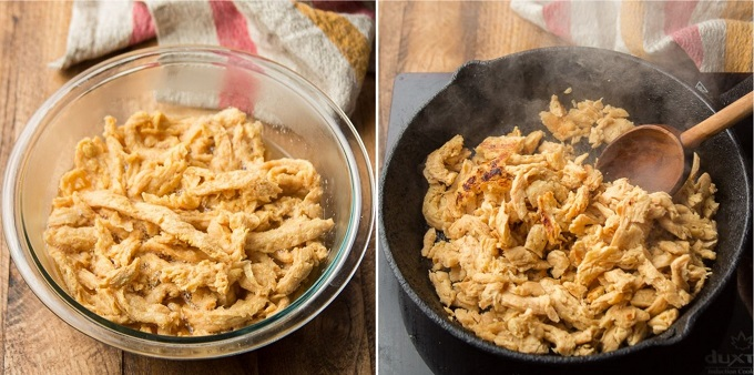 Collage Showing Steps for Preparing Soy Curls: Soak in Broth, then Brown in a Skillet