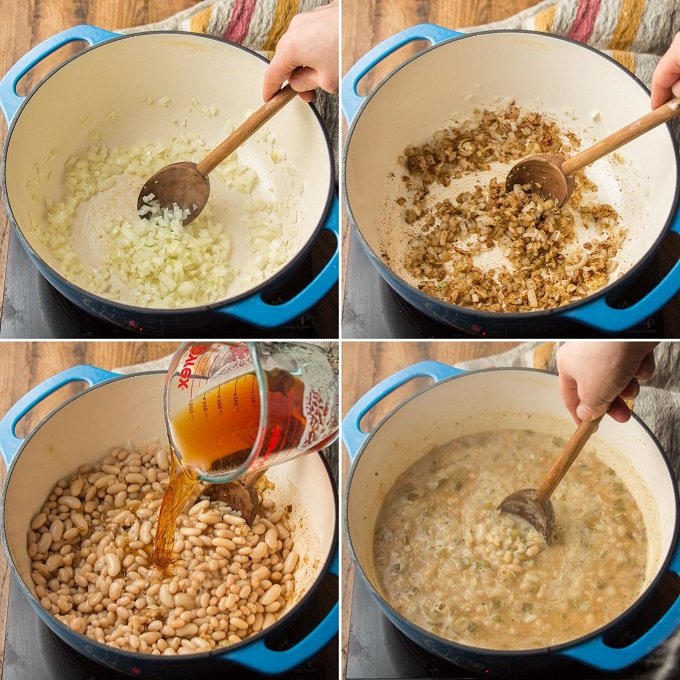 Collage Showing Steps for Making Vegan White Chili: Sweat Onion, Add Garlic and Spices, Add Beans, Beer and Coconut Milk, and Simmer