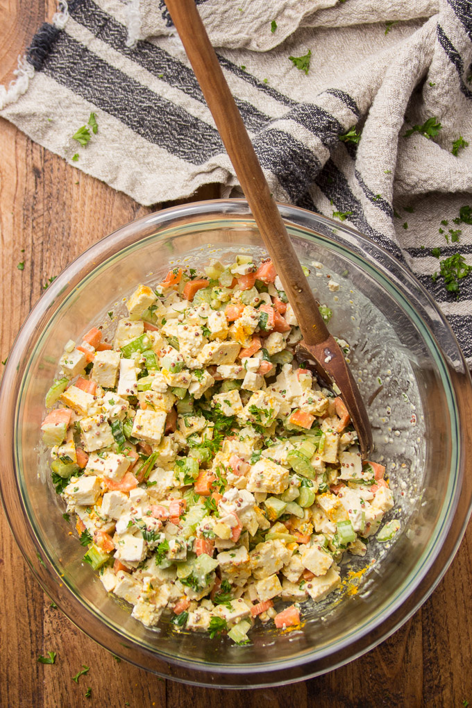 Bowl of Vegan Egg Salad with Wooden Spoon