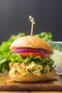 Vegan Egg Salad on a Bun with Lettuce, Tomato and Onion