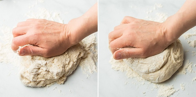 Collage Showing Two Stages of Kneading Vegan Naan Dough