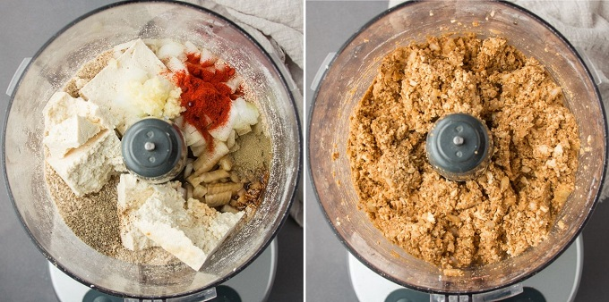 Vegan Meatball Mix Before and After Blending in a Food Processor