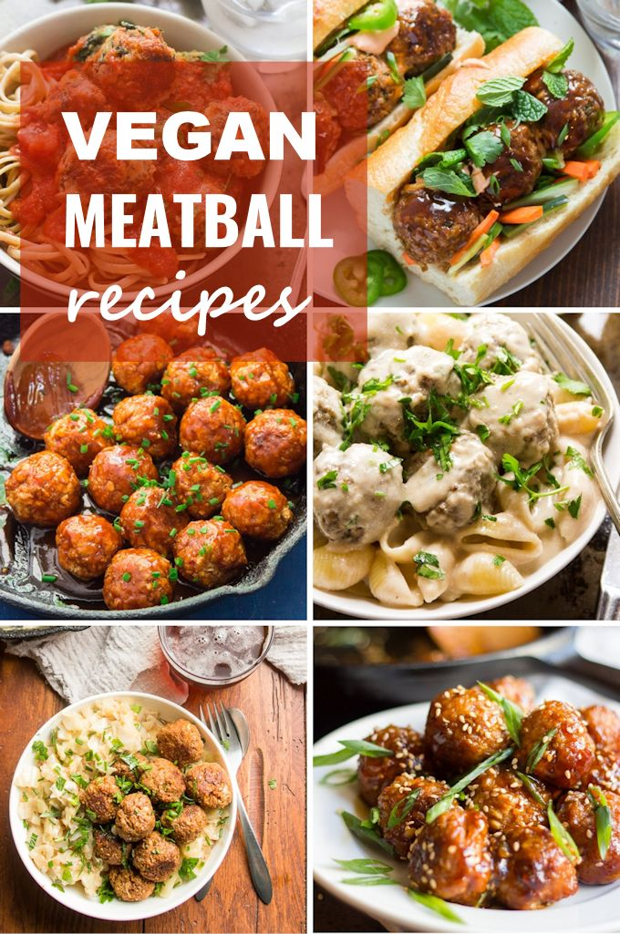 "Collage Showing 6 Vegan Meatball Dishes with the Text ""Vegan Meatball Recipes"""
