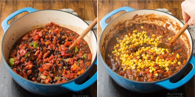 Steps 3 and 4 for Making Vegan Chili: Add Tomatoes and Beans, and Add Corn