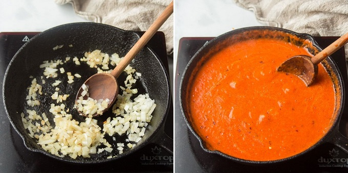 Side By Side Images Showing Two Stages of Cooking Red Pepper Sauce: Sweating Onions, and Simmering the Sauce