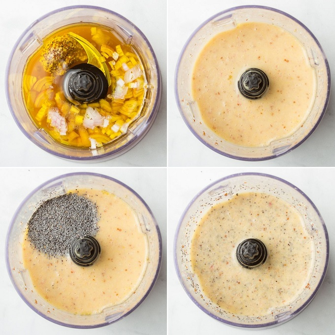 Collage Showing Four Stages of Blending Poppy Seed Dressing in a Food Processor