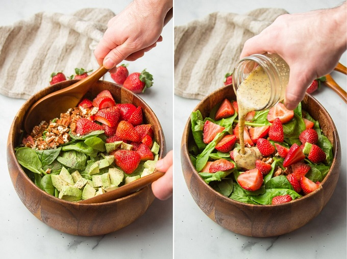 Collage Showing Steps for Making Strawberry Spinach Salad: Toss Ingredients and Drizzle with Dressing