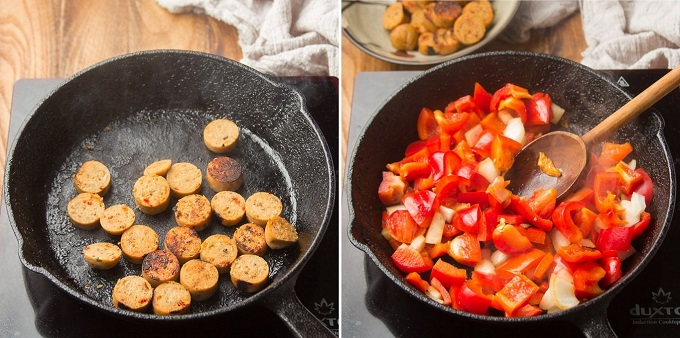 Collage Showing First Two Steps for Making Vegan Sausage & Pepper Ragù: Brown Sausage, and Cook Veggies