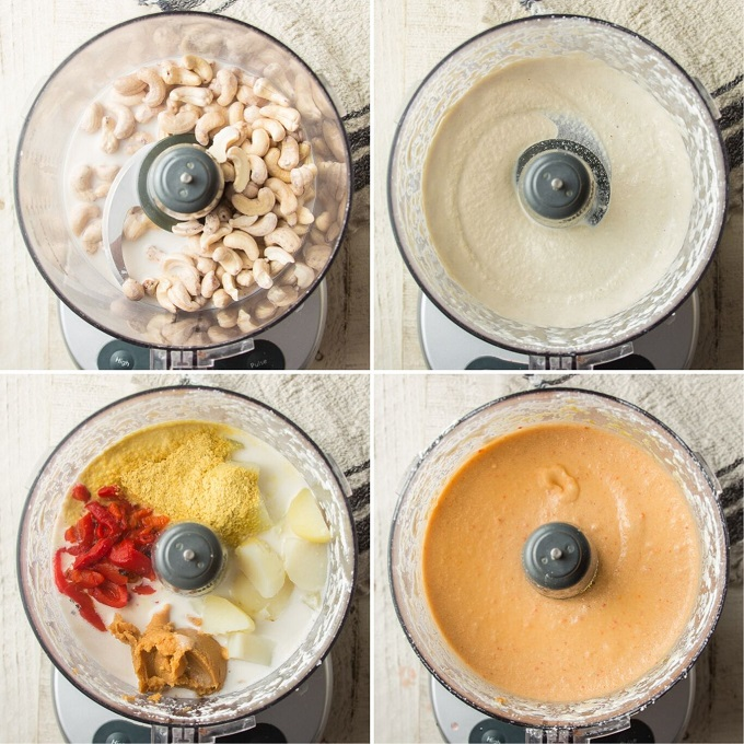 Collage Showing Steps for Making Vegan Mac & Cheese Sauce: Blend Cashews, Add Potato and Seasonings, Blend Again