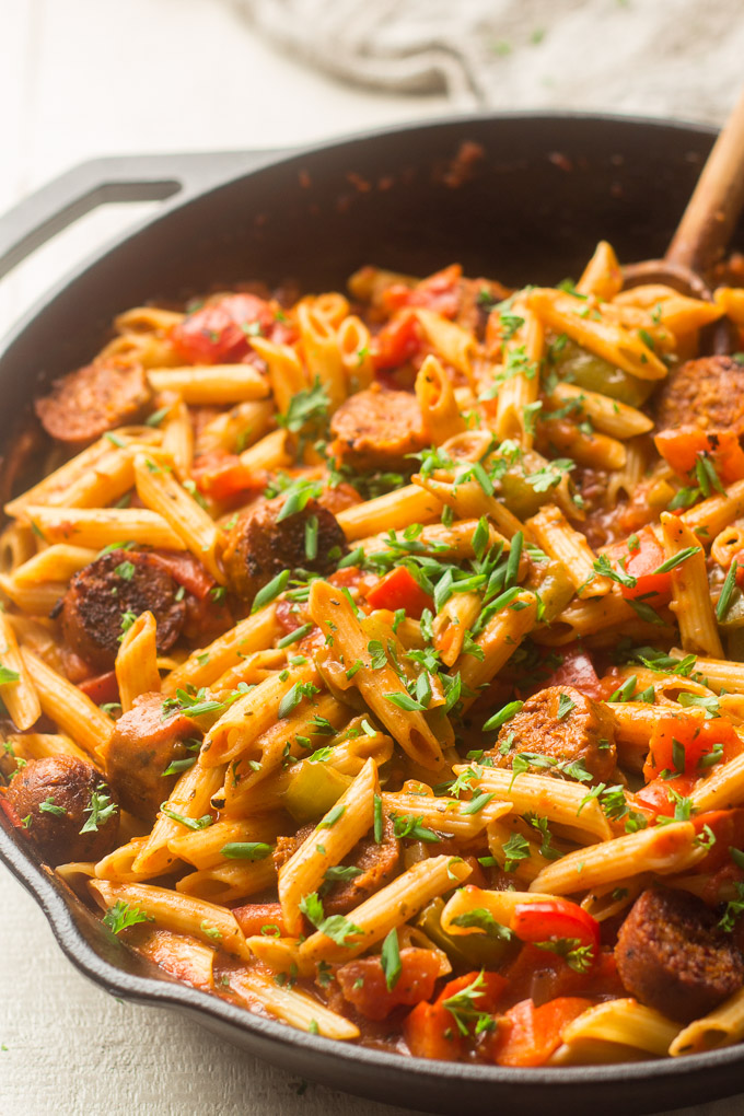 Close Up of Vegan Cajun Pasta Topped with Chives and Parsley