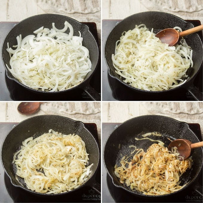 Collage Showing 4 Stages of Caramelizing an Onion