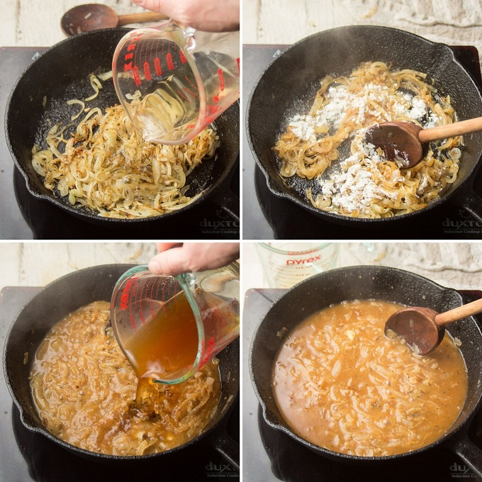Collage Showing 4 Steps for Making Caramelized Onion Gravy: Add Wine to Onions, Add Flour, Add Broth, and Simmer