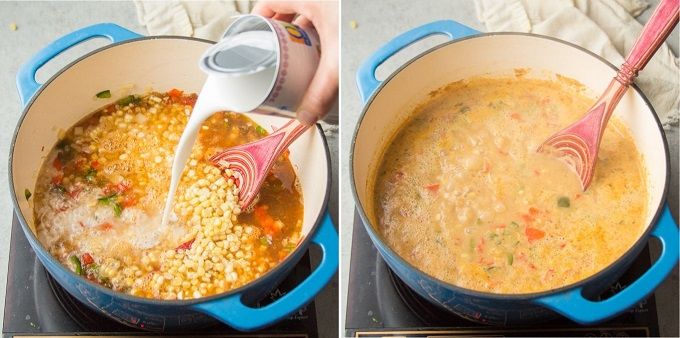 Collage Showing Steps 3 and 4 for Making Vegan Corn Chowder: Add Liquids and Simmer