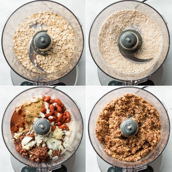 Collage Showing Steps for Making Quinoa Burgers in a Food Processor: Blend Oats, Add Beans, Quinoa, Onions, Garlic and Spices, and Blend