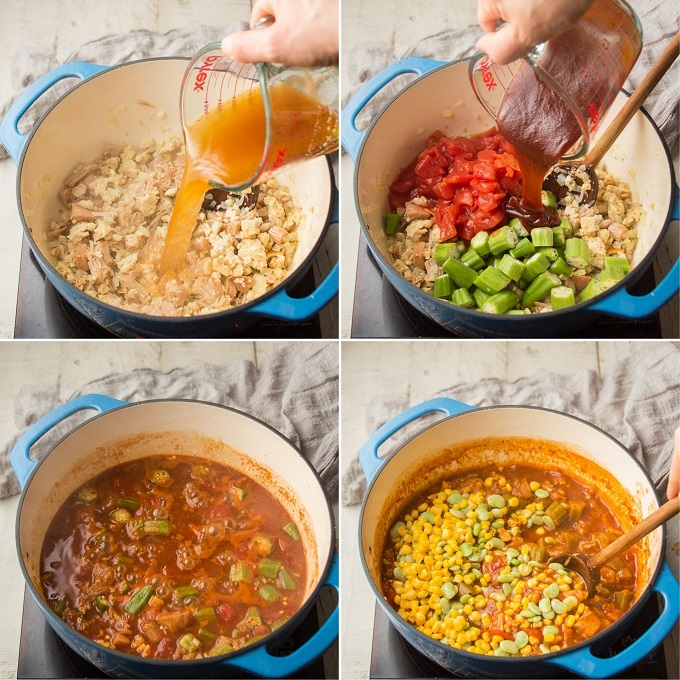 Collage Showing Steps 2-6 for Making Vegan Brunswick Stew: Add Broth, Add Veggies and Barbecue Sauce, Simmer, and Add Corn and Lima Beans
