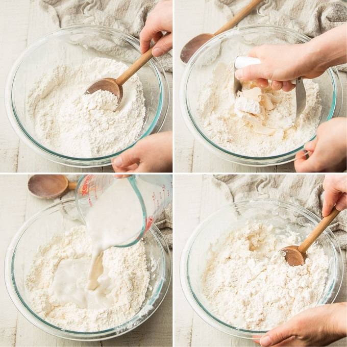 Collage Showing Steps 2-5 for Making Vegan Biscuits: Mix Dry Ingredients, Cut in Butter, Add Wet Ingredients, and Stir