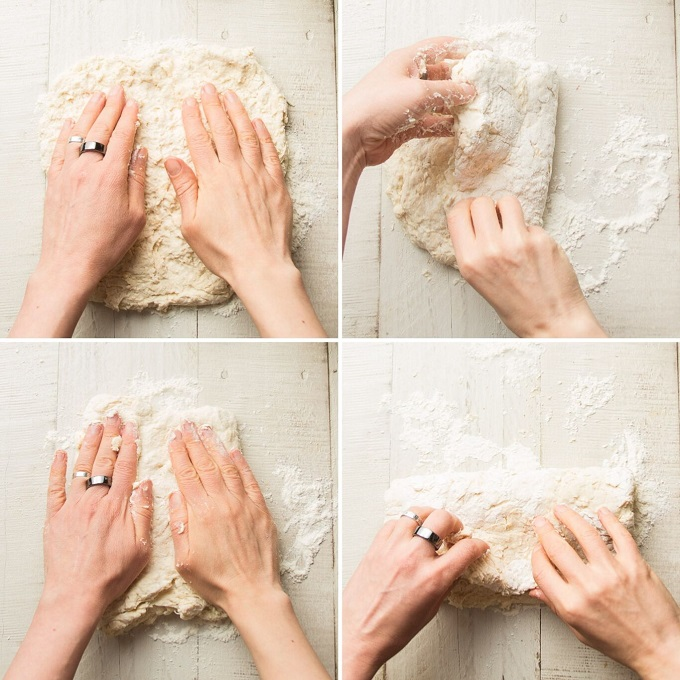 Collage Showing Steps for Shaping and Folding Vegan Biscuit Dough