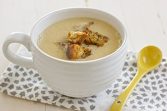 Fresh Corn Soup with Herbed Croutons